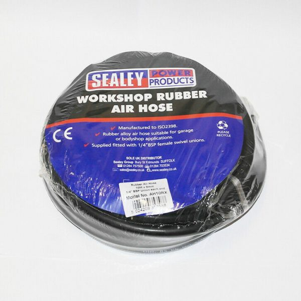 """Sealey Rubber Air Hose with HD 1/4"""" unions 10M x 8mm FREE DELIVERY"""