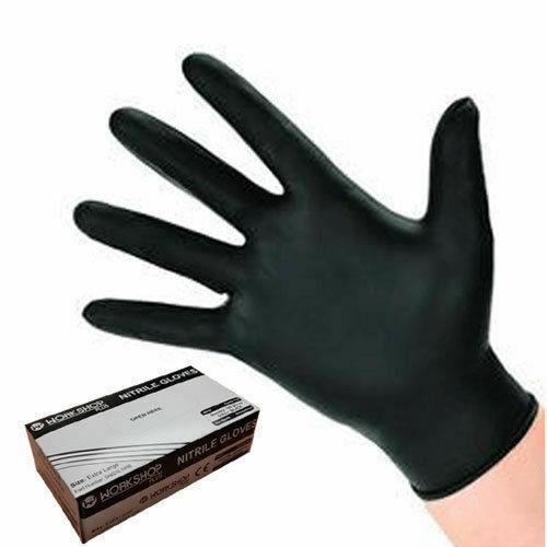 WORKSHOPPLUS Black Nitrile Gloves Medium - 100 PACK FREE DELIVERY